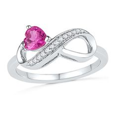 5.0mm Heart-Shaped Lab-Created Pink Sapphire and Diamond Accent Infinity Ring in Sterling Silver