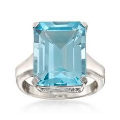 Ross-Simons - 14.00 Carat Blue Topaz Ring in Sterling Silver - #821644
