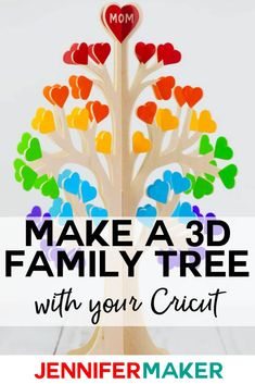 Learn how to make a family tree from paper or wood. This project is complete with free patterns, cut files, and a tutorial. Good Tutorials, Cricut Tutorials, Cricut Ideas, Cricut Explore Projects, Craft Projects, Projects To Try, Diy Cutting Board, Project Free, Paper Crafts