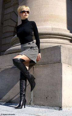 Black sweater houndstooth skirt and black OTK boots outfit #highheelbootsskirt #highheelbootslingerie