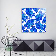 Discover «Orchid Night», Numbered Edition Aluminum Print by Amaya Brydon - From $59 - Curioos  #art #print #blue #flowers #floral #botanical #wallart #artist #pattern #floralpattern #mixedmedia #artprint #aluminum #interiordesign
