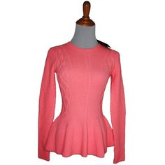 Pre-owned Ted Baker London Coral Hot Cable Knit Peplum New Nwt 1... (£130) ❤ liked on Polyvore featuring tops, sweaters, pink, cable knit sweater, peplum tops, pink jumper, print sweater and red jumper