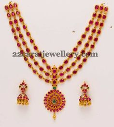 Jewellery Designs: Cabochon Rubies Long Set with Jhumkas