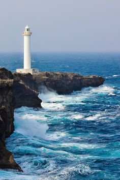 Cape Zanpa Lighthouse and Waves {on the island of Okinawa, Japan} l Photographer