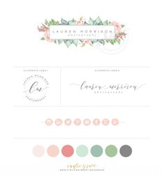 Watercolor Floral Logo Design  Branding Suite  by IndieGrace