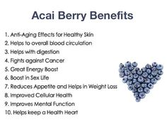 Eat Acai Berries! Acai berries are low in sugar and provide excellent amounts of calcium, fiber, iron, vitamin A and B12. As acai berries fight against free radicals, they can prevent health problems such as arthritis, inflammation and allergies. They are also a source of dietary fiber and essential fatty acids, such as oleic acid (commonly found in olive oil).   #Health #Wellness  Get more healthy tips: http://www.drsdonkim.com/