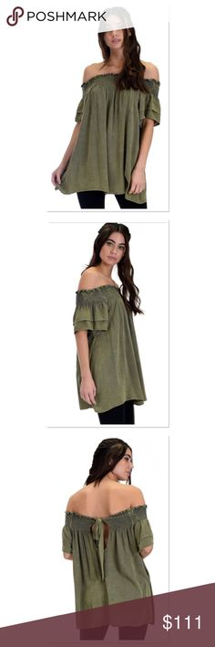 """‼️JUST ARRIVED‼️ADORABLE OFF THE SHOULDER TOP Adorable off the shoulder top with a cute tie back. I love the material and how well made it is as well as the factory distressed look of variations in color. Gorgeous Olive green. Measurements lying flat Small-Bust 20"""" Waist 16.5"""" Length 25"""" Medium-Bust 21"""" Waist 17"""" Length 25"""" Large-Bust 21.5"""" Waist 18"""" Length 25"""" Boutique Tops"""