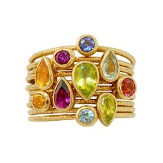 14K Gold, 2.19CTW Aquamarine/Peridot/Amethyst/Citrine/Iolite/Rhodolite Garnet Stacked Rings by Cherie Dori Jewelry
