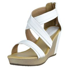 0dfc7897e01 Womens Color Block Platform Sandals Cross Strap Wedge Shoes White Size  5.5-10