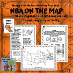 Map the US States, Capitals and NBA Teams - Celebrate Basketball Day Nov 6th States And Capitals, U.s. States, November Holidays, Basketball Videos, Map Activities, Map Skills, Team Names, Home Schooling, Homeschool