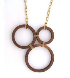 Wooden hoops necklace. Might also look good with a beaded hoop or woven hoop (covered in pine needles or grass)
