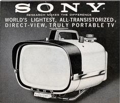 """Sony Portable TV 1960  Back when Style was NOT lost to function - What ever happened to the """"Art"""" of manufacturing ?"""
