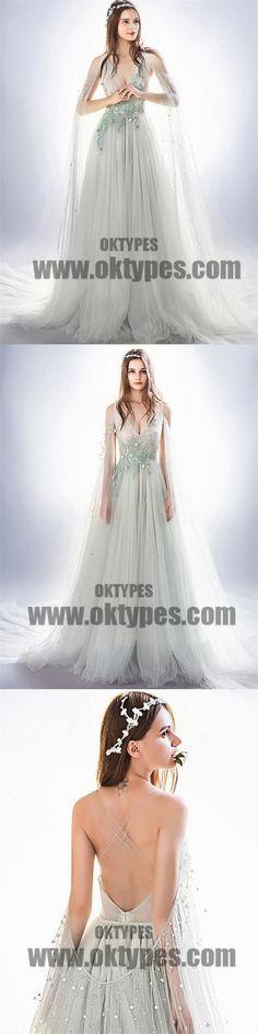 Light Gray Prom Dresses With Trailing, V-neck Prom Dresses, Beading Prom Dresses, Appliques Prom Dresses, TYP0083 #promdresses