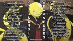 ANSATSU KYOUSHITSU/ASSASSINATION CLASSROOM, Weaknesses of Korosensei