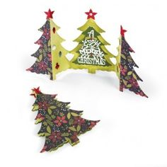 #Sizzix Christmas Tree Fold-a-Long Card Thinlits Die Set by #JenLong