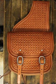 Love This : Medium Saddle Bags - Geo Stamp Cowboy Shop, Cowboy Gear, Leather Carving, Leather Tooling, Leather Projects, Custom Belts, Saddles, Horse Tack, Leather Craft