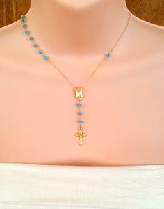 Turquoise Gemtone 14kt Gold Rosary Necklace by divinitycollection, $69.00