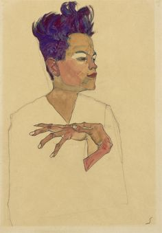 Egon Schiele Self Portrait with Hands on Chest 1910