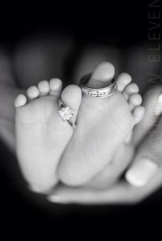"""Love this photo idea. Wedding rings on baby's toes  """"Our family has grown by two feet"""""""