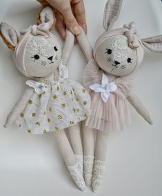 Fox and bunny❤. Restock this Saturday CET Doll Crafts, Diy Doll, Sewing Crafts, Sewing Projects, Doll Toys, Baby Dolls, Baby Accessoires, How To Make Toys, Fabric Animals