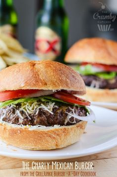 The Gnarly Mexican Burger   A unique burger topped with a blend of Mexican cheeses, enhanced by earthy spices and crushed lime tortilla chips and topped with salsa that is bound to delight those who enjoy biting into things a bit South of the Border.