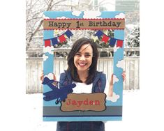 Airplane Birthday Party Giant photo frame prop for photo booth/activity, with child name, birthday age, clouds, airplanes and banner