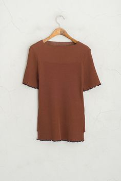 Loose Neckline Block Colour Trimming Knit Jumper, Brown
