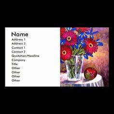 CUSTOMIZABLE!!! Daisy Iris Flowers Vase Still Life Art Business Card / Porfile Card. http://www.zazzle.com/daisy_iris_flowers_vase_still_life_art_multi_business_card-240024172771633373
