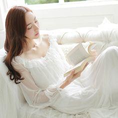 Camisón de la princesa Del verano de Las Mujeres ropa de Dormir de manga Larga Retro Translúcido Encaje Sress Sexy ropa de Dormir Más El Tamaño de Seda del Hielo