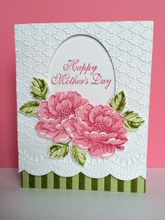 CASE of Carol Payne's CASE of an unknown card. Stampin' Up's Stippled Blossoms, Fancy Fan and Stripes embossing folders. Sent for Mother's Day 2015.