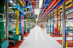 This is inside a data center for Google. Google has 14 data centers in North America, South America, Asia and Europe that keep their products operating 24 hours a day 7 days a week, 365 days a year, 10 years a decade.