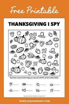 Thanksgiving I Spy Game   Free Printable Thanksgiving Activities