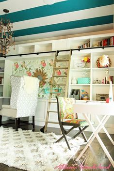 chic inspiration custom bookshelf. Colorful and eclectic office design features a striped ceiling  custom bookcases rolling ladder Office Plans Giveaway Vintage Modern Inspiration