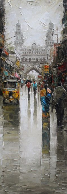 Charminar wet st by Iruvan Karunakaran, Impressionism Painting, Acrylic on Canvas, Gray color 3 Canvas Paintings, Indian Art Paintings, Oil Painting On Canvas, Bibliotheque Design, Om Namah Shivaya, Impressionism Art, Online Painting, Watercolor Paintings, Painting Art