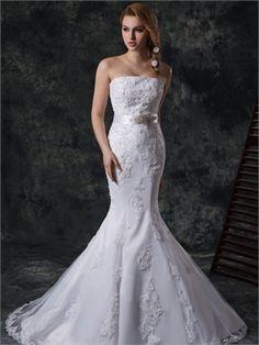 Mermaid strapless court train lace Fall 2013 Wedding Dress