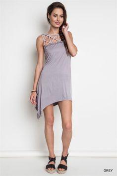 Cut Out Collar Dress - Grey