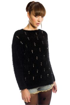 Artie Cross Stud Jumper in Black - Knitwear - Clothing
