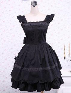Black Bows Ruffles Cotton Gothic Lolita Dress