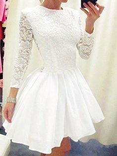Short Homecoming Dress,White homecoming dress,homecoming dress with long…