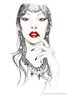 Dark lady by mina kim, via Behance