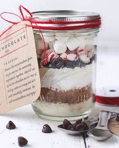 "This is one of my favorite easy gift ideas for the holidays, and it couldn't be simpler, sweeter or more  delicious! I just shared the ""recipe"" on the blog, plus 2 printable recipe tags that you can choose from. Just layer the ingredients in a jar, add a tag, and BAM! The BEST Homemade Hot Chocolate Mix to give to your friends, family, neighbors, teachers, mail man, hair stylist... you get the picture.  Go to: lovegrowswild.com (direct link in my profile)"