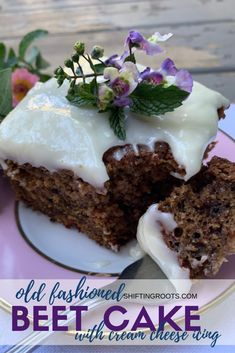 This Old fashioned beet cake recipe is made with a beet puree and has all the goodness of a carrot cake with cream cheese icing. A must add to your fall baking list. Homemade Frosting Recipes, Homemade Vanilla Cake, Cake Mix Recipes, Homemade Cakes, Köstliche Desserts, Delicious Desserts, Dessert Recipes, Beet Cake, Carrot Cake