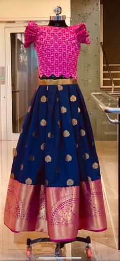8 to 10 years. Beautiful blue color kids pattu lehenga and pink color parikini w. - 8 to 10 years. Beautiful blue color kids pattu lehenga and pink color parikini with hand embroidery - Kids Lehanga Design, Kids Frocks Design, Kids Blouse Designs, Blouse Designs Silk, Kids Dress Wear, Kids Gown, Baby Dress Design, Frock Design, Long Frocks For Kids