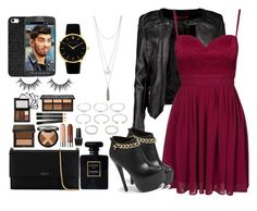"""""""a night out with Bae Zayn"""" by sabrina-emo ❤ liked on Polyvore featuring Boohoo, Elise Ryan, Lanvin, Forever 21, Chanel, OPI, BaubleBar, Larsson & Jennings, Steve Madden and Samsung"""
