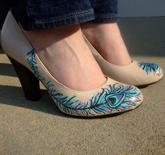 Not exactly like this...but great idea for boring cheap shoes!