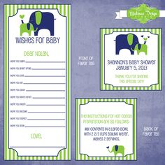 """Preppy Elephant"" baby shower designs featuring elephants and fun stripes.  Items included double sided favor tags and ""Wishes for Baby"" cards. By Matinae Design Studio. www.matinaedesignstudio.com"