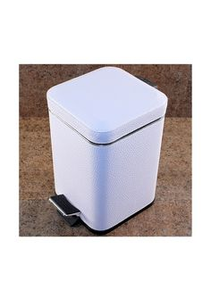 Gedy by Nameek's Faux Leather Step Waste Basket 2209-02, White. Add this sleek and sturdy trash can to your bathroom, bedroom or office