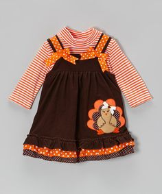 Another great find on #zulily! Orange Stripe Bodysuit & Brown Turkey Jumper - Infant & Toddler by Rare Editions #zulilyfinds