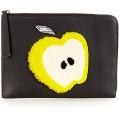Fendi Apple shearling and leather pouch (803,880 KRW) ❤ liked on Polyvore featuring bags, handbags, clutches, black yellow, leather tote purse, black tote, black leather purse, fendi tote and handbags totes