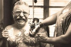 10 Historical Titans With Surprising Tattoos Apparently Teddy Roosevelt had his family crest emblazoned across his chest. (but, that image is Photoshopped.) Polk also had a tattoo Tattoo Homme, Historical Tattoos, History Tattoos, Chest Tattoo, Get A Tattoo, Skin Art, Popular Culture, Body Painting, Vintage Photos